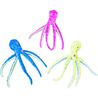 "EthicalペットSkinneeez Extreme Stuffingless耐久性Squeaker Octopus犬と猫おもちゃ、16、"" Assorted"