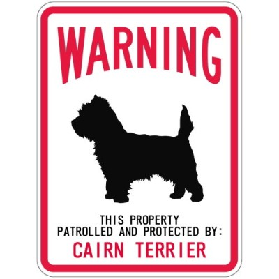 WARNING PATROLLED AND PROTECTED CAIRN TERRIER マグネットサイン:ケアーンテリア(レギュラー) 警告 資産 警.
