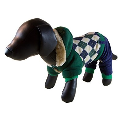 Petcessory DW01AL Green & Blue Argyle Warm 4-Leg Dog Hoodie - Large