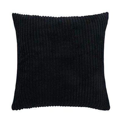 (50cm x 50cm, Black) - Famibay Square Solid Cushion Cover With Invisible Zipper For Sofa,Decorative...