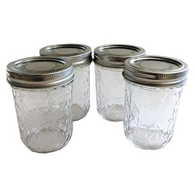 Mason Ball Jelly Jars-240ml each - Quilted Crystal Style-Set of 4