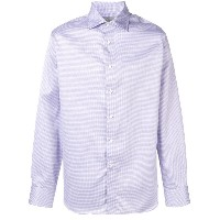 Canali long-sleeve fitted shirt - ピンク&パープル