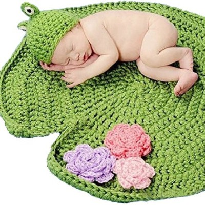Yonger Newborn Frog Green Crochet Baby Blanket Hat Knitted Photography Prop by Yonger