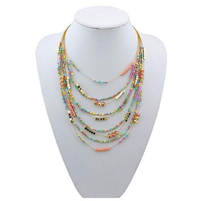 (mix) - BOCAR Multilayer Colourful Handmade Seed Beads Illusion Chain Statement Necklace Wedding...