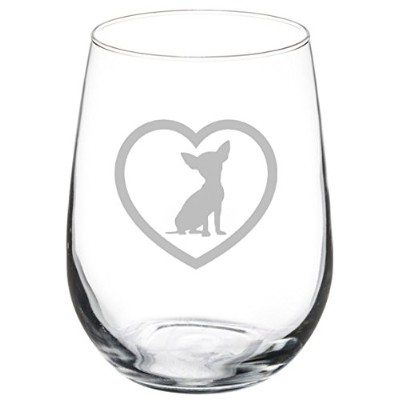 (500ml Stemless) - Wine Glass Goblet Chihuahua Heart (500ml Stemless)