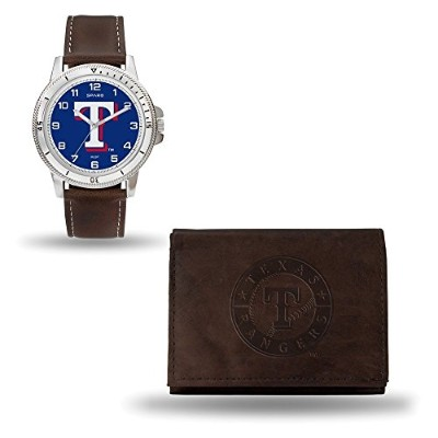 Jewelry Adviser MlbギフトMLB Texas RangersレザーWatch/財布セットby Rico Industries