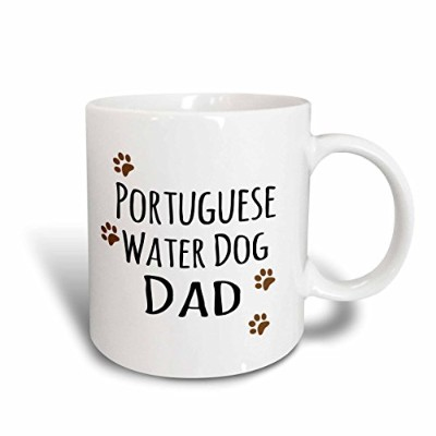 "3drose Mug 153966 _ 6 "" Portuguese Water Dog Dad Doggie by Breed MuddyブラウンPaw Print Proudペット所有者""..."