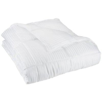 All-Season Luxurious Striped Down Alternative Comforter, Full/Queen, White