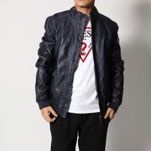 【SALE 50%OFF】ゲス GUESS GARMENT DYE ECO-LEATHER JACKET (BLUE NAVY/BLUE)