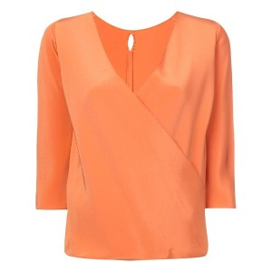 Peter Cohen wrap front blouse - イエロー