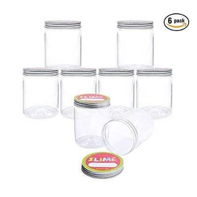 (6 Pack) - Slime Storage Containers - 6 Pack 240ml Clear Slime Jars with lids and Labels