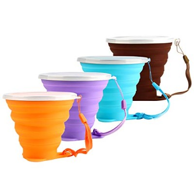 IPhox Collapsible Travel Cup with Lid、シリコン折りたたみ式Drinking Mug、BPAフリーRetractable forハイキングキャンプピクニックポータブ...