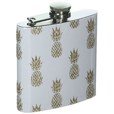 Stainless 6 oz. Golden-Flaked Enameled Pineapple Motif 4.25-inch Flask by About Face Designs