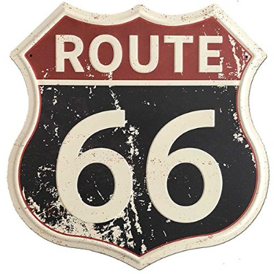 (Route 66) - SUDAGEN Route 66 Signs Vintage Road Signs with Polygon Metal Tin Sign for Wall Decor...