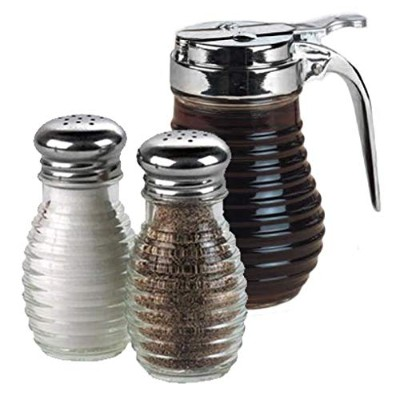 Beehive Glass Syrup Dispenser with Salt and Pepper Shakers