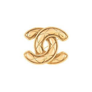 Chanel Vintage quilted CC Brooch - メタリック