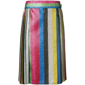 Marco De Vincenzo striped shimmer pleated skirt - メタリック