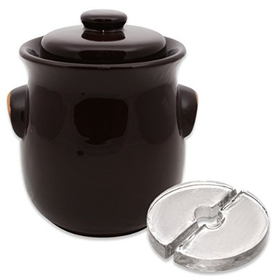 (Plain Brown) - Stone Creek Trading 2.5L Fermenting Crock with Weights (Plain Brown)