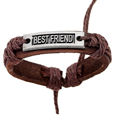 Maylove Best Friend Leather Braided Suedeバングルブレスレットレターチャーム、友人BBF