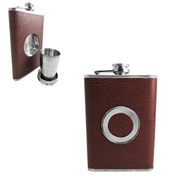 (Dark Brown) - Shot Flask - Stainless Steel 240ml Hip Flask, Built-in Collapsible 60ml Shot Glass &...
