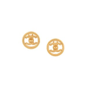 Chanel Vintage CC logos button earrings - メタリック