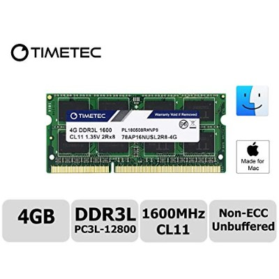 Timetec Hynix IC 4 GB Mac用 DDR3L 1600 MHz PC3L 12800 SODIMM Apple専用増設メモリ 永久保証 (4 GB)