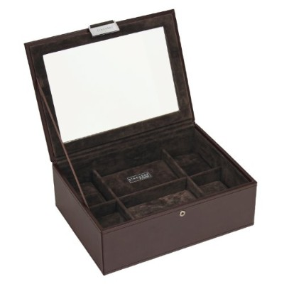 (Brown) - STACKERS - Men's Executive Brown 8pc Lidded Watch STACKER with Brown Velvet Finish Lining