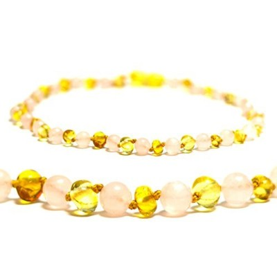 Certified Baltic Amber Teething Necklace for Baby (Rose Quartz/Lemon) - Anti-inflammatory ... by...