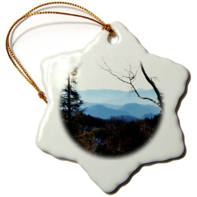 3drose et Photography–山の山をシーンからon Top of the Mountainsスモーク–Ornaments 3 inch Snowflake Porcelain...