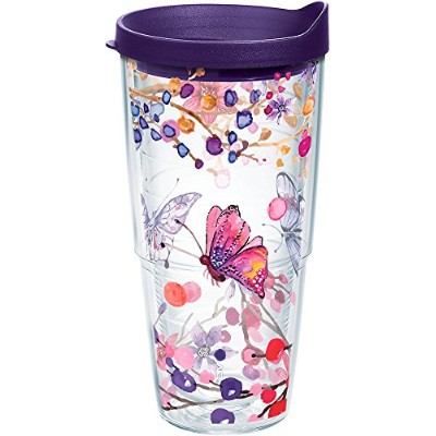Tervis Watercolour Branch Butterfly Wrap Tumbler with Royal Purple Lid, 710ml, Clear