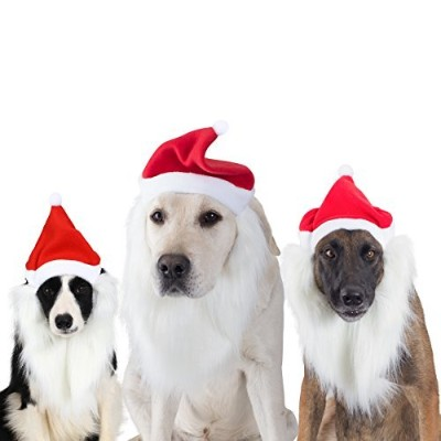 Dog costumes Santa hat cap with long beard cosplay doggie gift accessories for Christmas