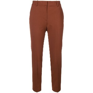 Theory creased cropped trousers - ブラウン