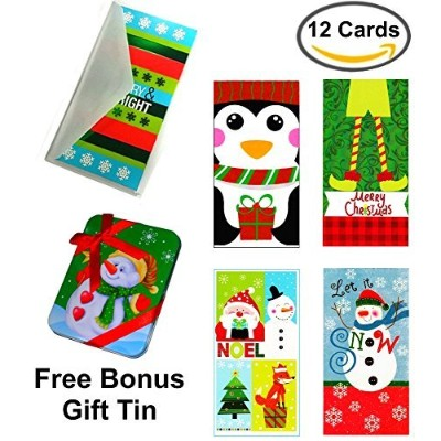 Set of 12 Christmas Money Card Holders: Assortment of Holiday Cards with Envelopes, to Hold Checks,...