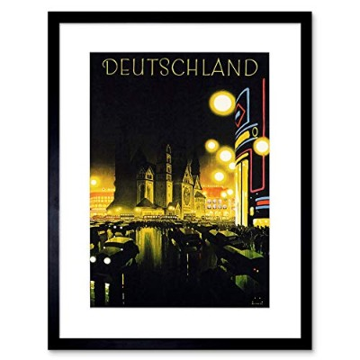 Vintage Ad Travel Germany City Car Lights Church Framed Wall Art Print ビンテージ旅行ドイツシティ光教会壁