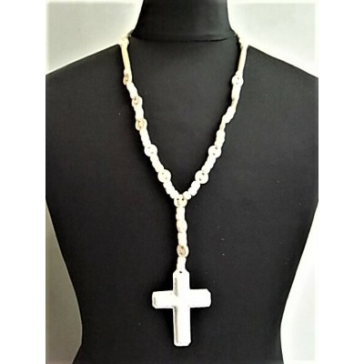 """Rooster King & Co.,(ルースターキング&コー)【WHITE LEATHER""""CROSS""""ROSARIO】ホワイトレザー""""クロスロザリオ""""ネックレス"""