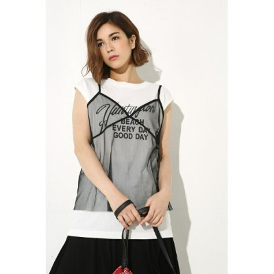 【SALE/70%OFF】AZUL by moussy レイヤードロゴTEE アズールバイマウジー カットソー【RBA_S】【RBA_E】