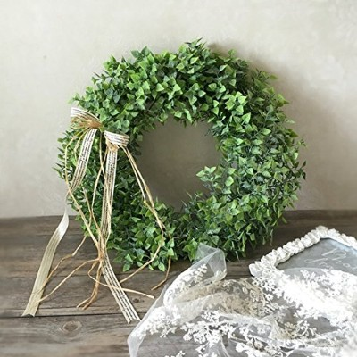 (A) - Zehui Green Leaf Wreath with Bow Door Hanging Wall Window Decoration, Small Wreath, Rustic...