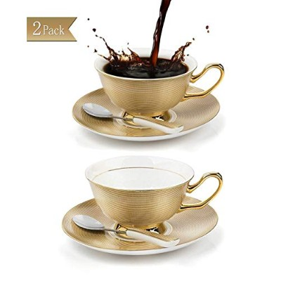 (Golden,2 Pcs) - NDHT Set of 2 Bone China Teacups/Coffee Cup and Saucers Sets with Spoons-300ml,...