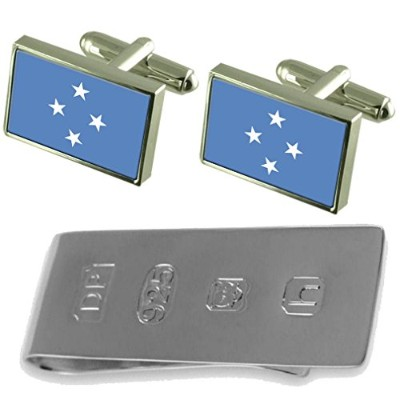 Micronesia Flag Cufflinks & James Bondお金クリップ
