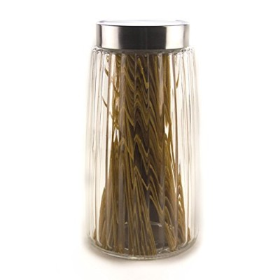 """(Large (9.5"""" Tall)) - Ripple Food Storage Glass Jar Canister with Airtight Brushed Metal Lid, 1980ml"""