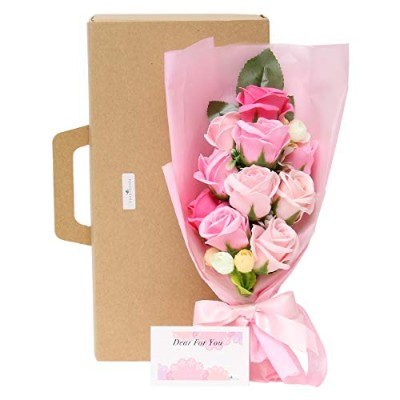 fleurmelody ソープフラワー 光触媒 花束 バラと小花 フラワーギフト ギフトケースと説明書付き (ピンク系, 10本)