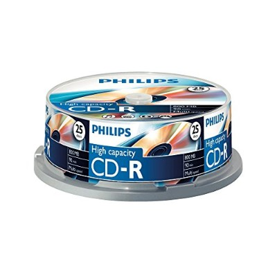 Philips CD-R 90 Minutes 800MB 40x Speed Black Recordable Discs - 25 Pack Spindle