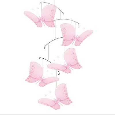 Butterfly Mobile Pink Twinkle Nylon Mesh Butterflies Mobiles Decorations Decorate Baby Nursery...