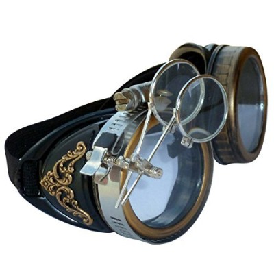 Steampunk GogGLes VicTORian Novelty Glasses cosplay Antique filigree S2 (Clear lens 1x) by...