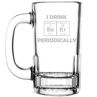 350ml Beer Mug Stein Glass Funny Science Geek Nerd I Drink Beer Periodically