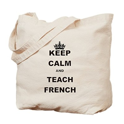 CafePress – Keep Calm and Teach French – ナチュラルキャンバストートバッグ、布ショッピングバッグ