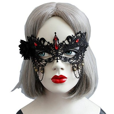 Masquerade Women Eye Face Mask with Black Flower Red Rhinestones Masks for Halloween Costume