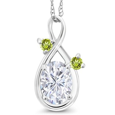 14KホワイトゴールドペンダントForever One (GHI) Oval 0.90CT (Dew) モアッサナイトby Charles & Charlesとペリドット