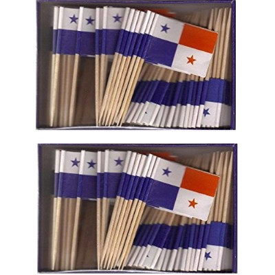 2 Boxes of Mini Panama Toothpick Flags, 200 Small Panamanian Flag Toothpicks or Cocktail Sticks &...