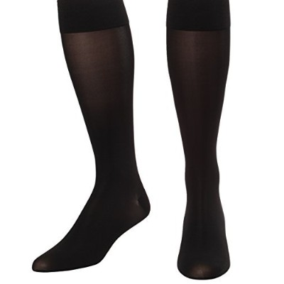 Lux Sheer Compression Knee Hi Firm 20-30mmHg Absolute Support -Large, Black- Made in USA by Absolute Support